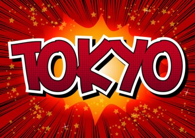 Quadro Tóquio - palavra do estilo da banda desenhada.