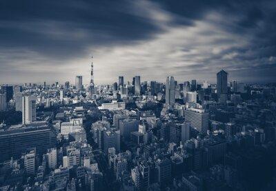 Quadro Tóquio visão da cidade e Torre de Tóquio em tom escuro