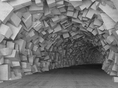 Quadro Torneamento concreto túnel interior, 3d