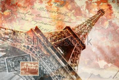Quadro Torre Eiffel Paris, arte digital abstrata, cartão postal