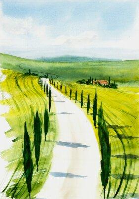 Quadro Toscana landscape. Watercolor illustration