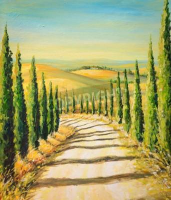 Quadro Toscânia: paisagem rural com estrada, campos e montes. Retrato criado com cores acrílicas.