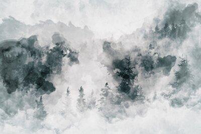 Quadro Trabalho de arte abstrato que mostra uma floresta escura com árvores de bétula. Meios mistos