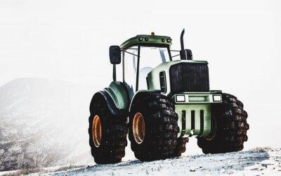 Quadro Tractor verde grande pesado em uma montanha