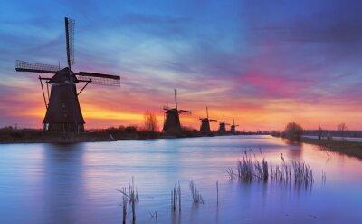 Quadro Tradicional, moinhos de vento, amanhecer, Kinderdijk, Países Baixos