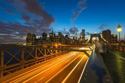 Quadro Tráfego, brooklyn, ponte, novo, york, anoitecer