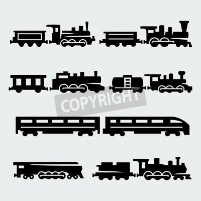 Quadro trains silhouettes set