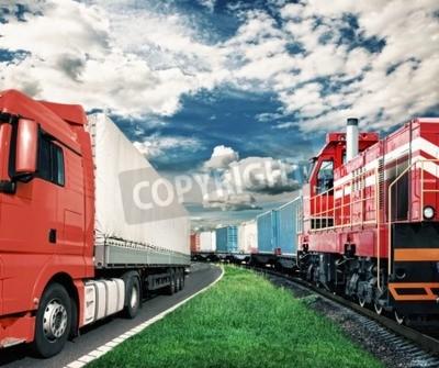 Quadro Trem de carga e caminhão como conceito de transporte