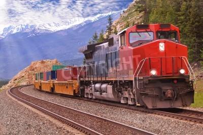 Quadro Trem de carga em Montanhas Rochosas canadenses