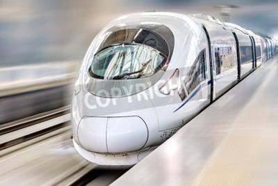 Quadro Trem de passageiros modernos Hi-Speed. Efeito de movimento.