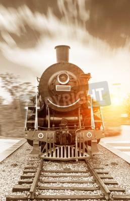 Quadro Trem vaporizado vapor preto vintage