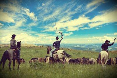 Quadro Três cowboys conduzir manada de cavalos, tonificação, vinhetas