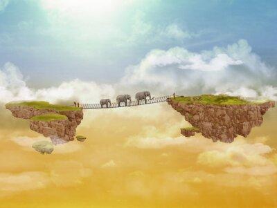 Quadro Três elefantes. Ilustração.