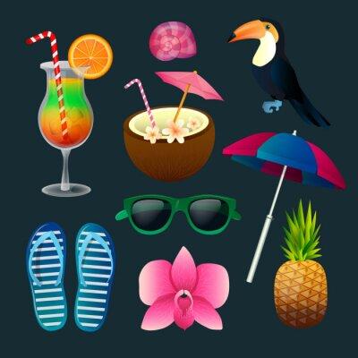 Quadro Tropical Elements Set: coquetéis, flores, óculos de sol, pássaro, abacaxi