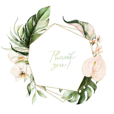 Quadro Tropical exotic watercolor floral geometric frame. Green & gold leaves, blush flowers. For wedding stationary, greetings, wallpaper, fashion, background. Palm fern banana green leaves.