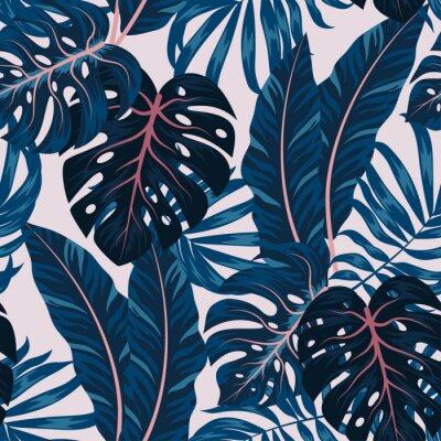 Quadro Tropical seamless pattern with colorful plants. Floral seamless vector tropical pattern background with exotic leaves, jungle leaf. Exotic wallpaper, Hawaiian style. Seamless vector texture.