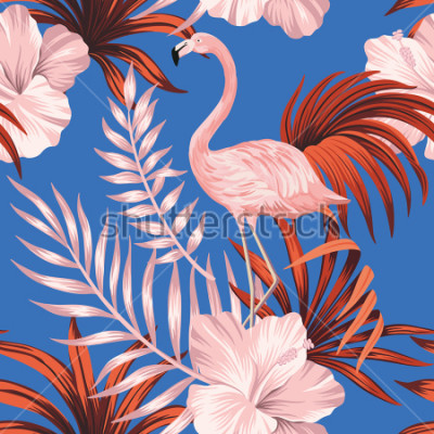 Quadro Tropical vintage pink flamingo, red palm leaves floral seamless pattern blue background. Exotic jungle wallpaper.