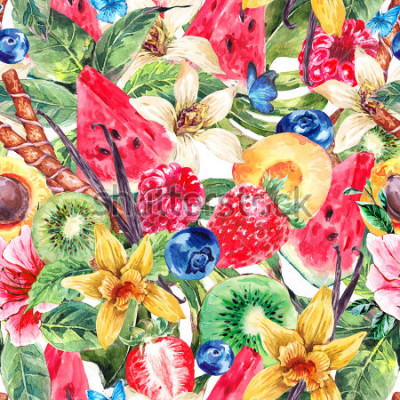 Quadro Tropical Watercolor Natural Healthy Food Eco Seamless Pattern with Watermelon, Apricot, Kiwi, Vanilla and Berries, Nature Exotic Menu Fruits Pattern