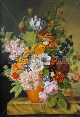 Quadro Tulipas e rosas em um vaso antigo. Papoilas, violetas, camomila, margaridas. Pintura. Ainda vida.