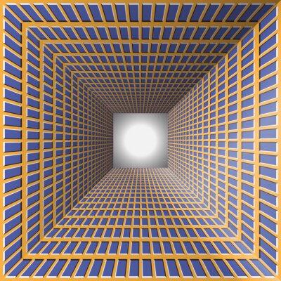 Quadro Túnel com paredes checkered. Fundo abstrato com a ilusão óptica do movimento.