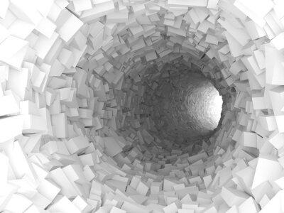 Quadro Túnel, paredes, feito, caótico, blocos 3d