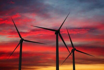 Quadro Turbinas de geradores de vento no céu