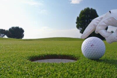 Quadro um homem que empurrar uma bola em um buraco de golfe