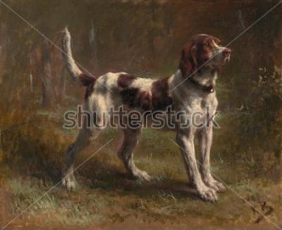 Quadro UM LIMIER BRIQUET HOUND, de Rosa Bonheur, 1856, pintura francesa, óleo sobre tela. Este foi um retrato do cachorro do Vicodte d'Armaille. Bonheur era um mestre em pinturas de animais e o mais famoso E