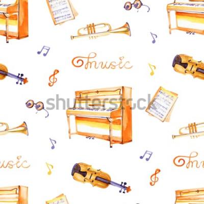 Quadro Um padrão sem emenda com mão desenhada instrumentos musicais em uma textura de fundo aquarela.