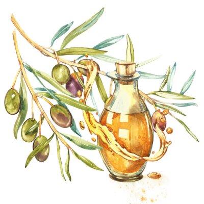 Quadro Um ramo de azeitonas verdes maduras é suculento, derramado com óleo. Gotas e salpicos de azeite. Aguarela e ilustração botânica isolada no fundo branco.