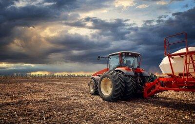 Quadro Um tractor poderoso trabalha no campo