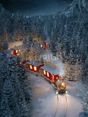 Quadro Um trem de natal incrível e bonito passa pela fantástica floresta de inverno no pólo norte. Ilustração incomum de Natal 3d