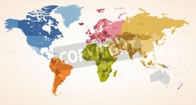 Quadro Um vintage colore o vetor alto do detalhe Ilustração do mapa do mapa de mundo inteiro.