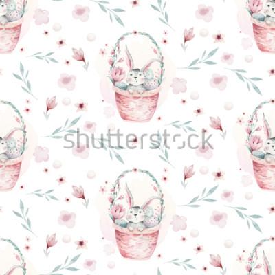 Quadro Uma ilustração da mola da aguarela do coelho bonito do bebê de easter. Coelho dos desenhos animados animal sem costura padrão com cesta
