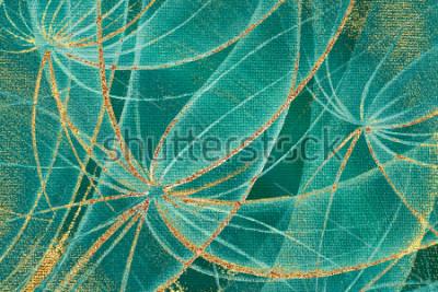 Quadro Uma pintura a óleo texturizada com dentes de ouro e ouro na tela para o projeto, tapete, papel de parede, azulejos, quadro da beira, painel de madeira.