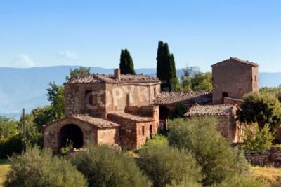 Quadro Uma residência em Toscânia, Italy. Típico para a região toscana casa de fazenda, colinas, ciprestes. Itália