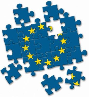 Quadro União Europeia EU bandeira quebra-cabeça sobre o fundo branco