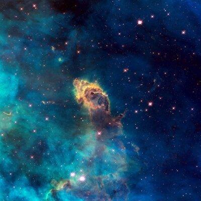 Quadro Universo cheio de jato estelar, estrelas, nebulosa e galáxia.