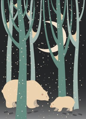Quadro Urso polar e filhote na floresta