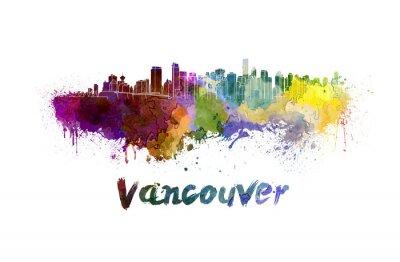 Quadro Vancouver horizonte em aquarela