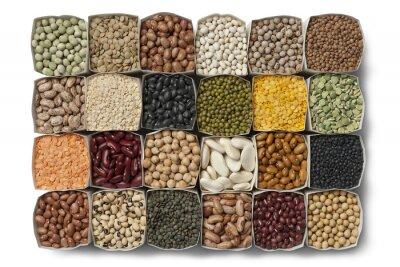 Quadro Variedade de feijão e lentilhas
