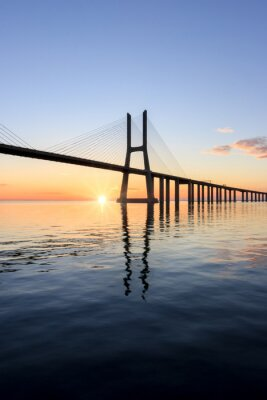 Quadro Vasco da Gama ponte, nascer do sol em Lisboa