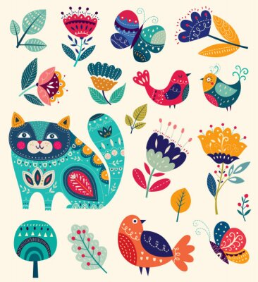 Quadro Vector a coleção com flores, gato decorativo, borboleta e pássaros
