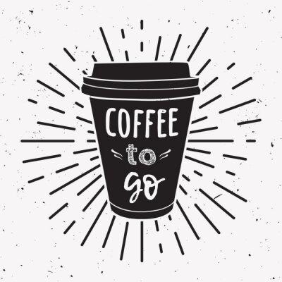 Quadro Vector a ilustração de um copo de café levar com frase