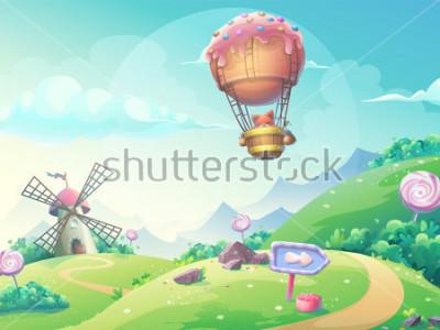 Quadro Vector a ilustração de uma paisagem com o moinho e a raposa de doce de fruta sem dirigível. Para impressão, criação de vídeos ou gráfico de web design, interface de usuário, cartão, cartaz.