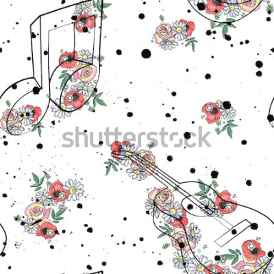 Quadro Vector a ilustração gráfica de padrão sem emenda de notas de música de guitarra, flores folhas ramo gotejamento borrão mancha, tinta, splodge, spray Esboço desenho estilo doodle Silhueta artística abs