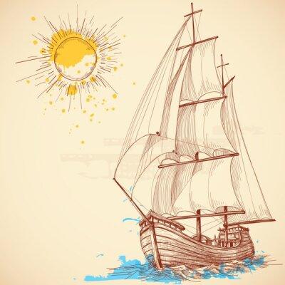 Quadro Vector barco à vela