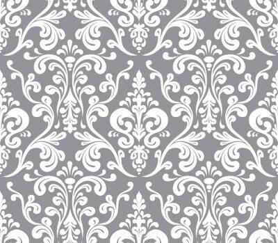 Quadro Vector. Cor damasco elegante sem emenda. Cinza e branco