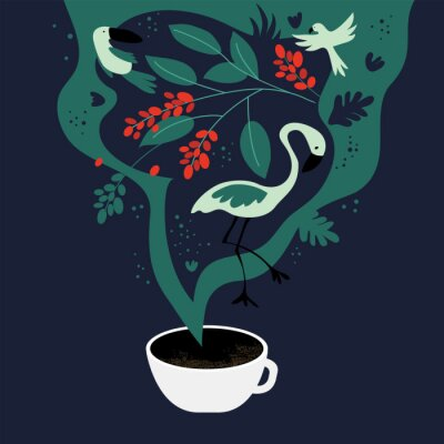 Quadro Vector illustration of cup of espresso with fancy scent. The dreams about tropics, equatorial regions where coffee plants are cultivated. Template with toucan,flamingo, parrot for banner, poster,flyer