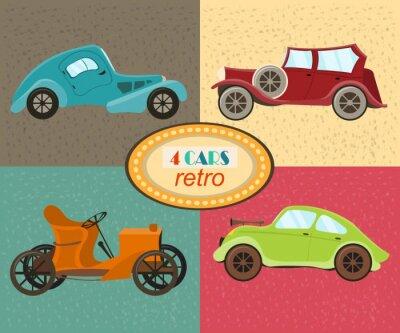 Quadro Vector o jogo de quatro carros retros. Veículos urbanos de trânsito. Ícones que caracterizam automóveis modernos e retros, carro antiquado do vintage. Carros coloridos coloridos. Isolado. Vector a ilu
